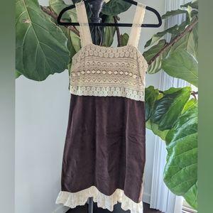 Anthropologie zehavale fine corduroy & lace dress